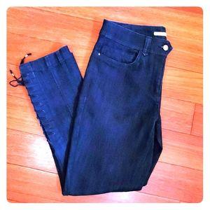 Anthro Leifsdottir Lace Tie Dark Jeans